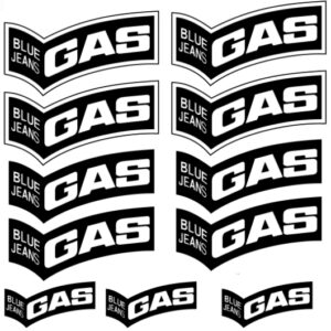 blue jeans gas stickers