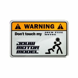 Warning sticker jouw exacte motortype